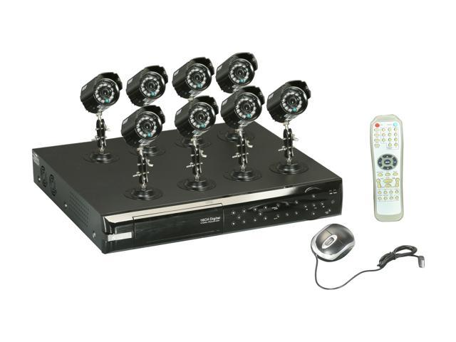 KGuard KG-CA116-H03-500GB 16 Ch DVR + 8 CCD, 420 TVL, Bullet Cameras + 500GB HDD, Surveillance Kit Solution