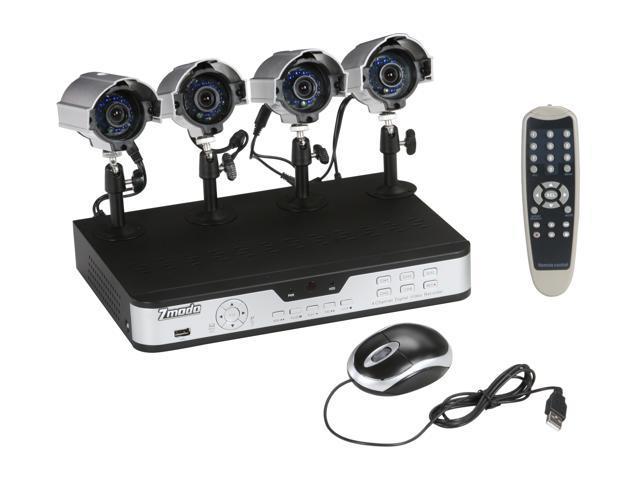 Zmodo PKD-DK4208-500GB 4 IR Camera + 4 CH DVR with 500GB with Remote Web / Mobile Phone Access