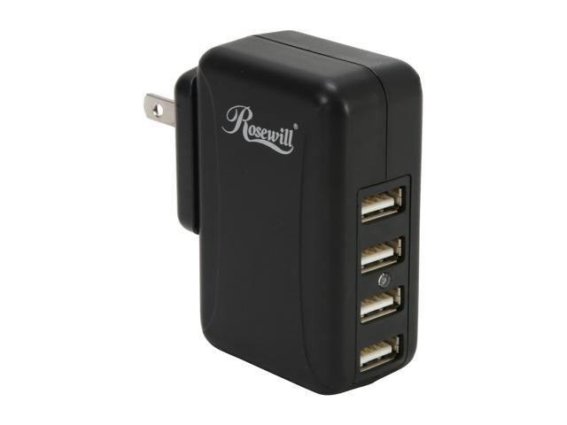 Rosewill 2 Amp 4 Port USB Wall Charger RUC-6180 for iPhone/iPod/iPad/MP3