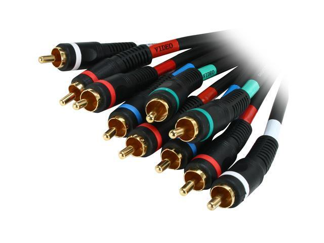 BYTECC P3V2A-6 6 ft. Component RGB video/audio Cable - GOLD Plated, Black Jacket