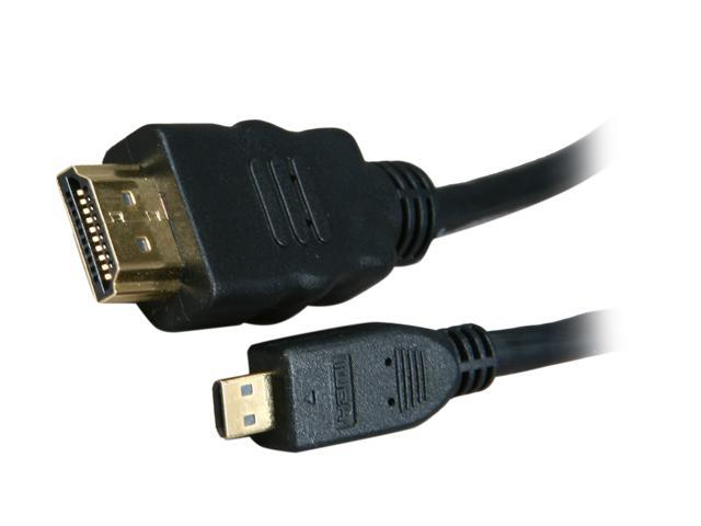BYTECC HM-MICRO3K 3 ft. Black HDMI Male to HDMI micro Male HDMI Male to HDMI micro Male High Speed Cable with Ethernet M-M