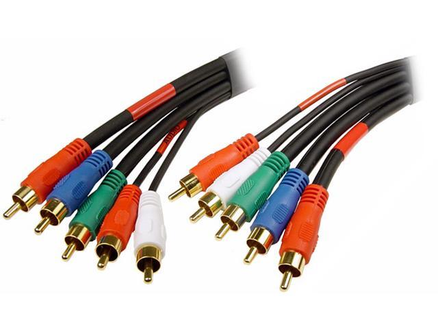 Cables Unlimited - 5 RCA to 5 RCA Male to Male Component Video and Audio cable - 6 FEET