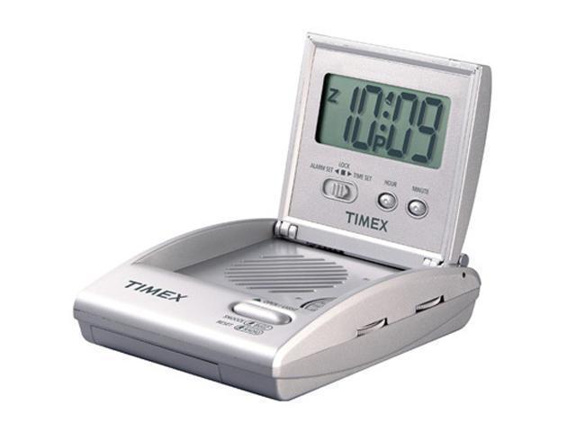 Timex T315S Travel Alarm Clock Radio (folds for portability) - Silver