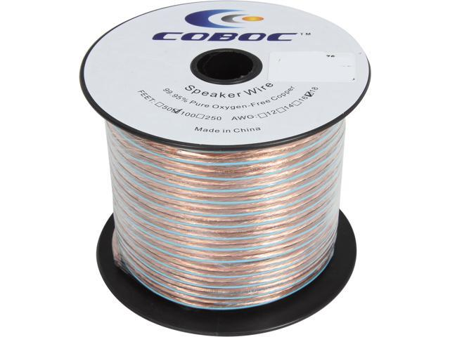 Coboc SPW-2C18-100-CL 100ft 18AWG 2-Conductor Oxygen-Free Copper OFC Speaker Wire Cable, Clear