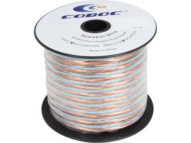 Coboc SPW-2C14-50-CL 50ft 14AWG 2-Conductor Oxygen-Free Copper OFC Speaker Wire Cable,Clear