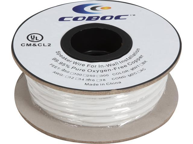 Coboc Model SPW-CL2-2C16-50-WH 50ft 16AWG CL2 Rated 2-Conductor Enhanced Loud Oxygen-Free Copper OFC Speaker Wire Cable (For In-Wall Installation)