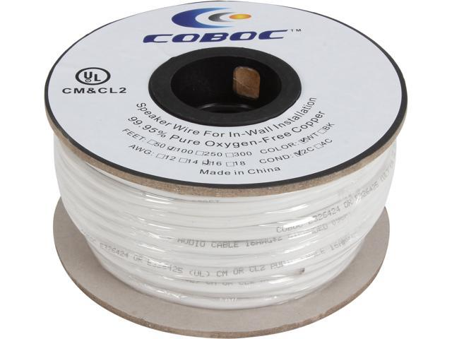 Coboc Model SPW-CL2-2C16-100-WH 100ft 16AWG CL2 Rated 2-Conductor Enhanced Loud Oxygen-Free Copper OFC Speaker Wire Cable ...