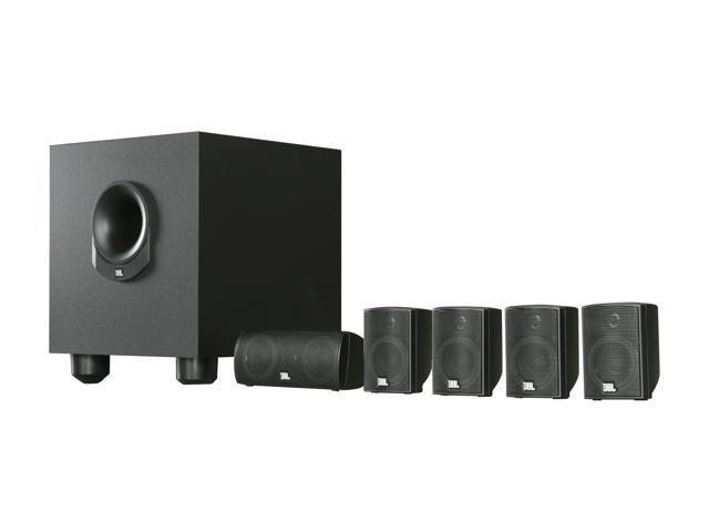 JBL SCS145.5BK Five Complete 6-Piece Home Cinema Speaker Package with Powered Subwoofer System