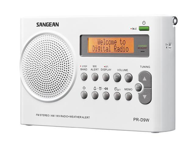 Sangean AM / FM Weather Alert Rechargeable Compact Radio PR-D9W