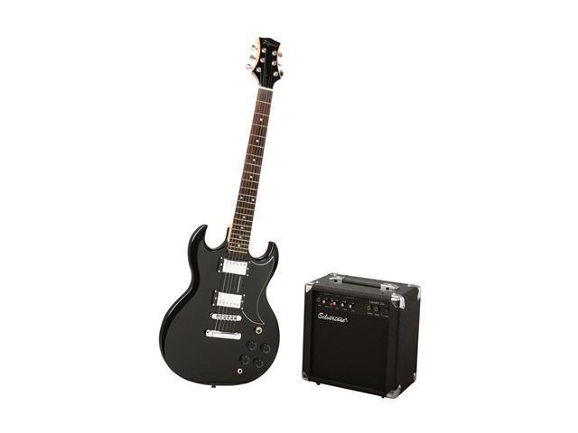 Silvertone Rockit 21 Electric Guitar Package, Liquid Black