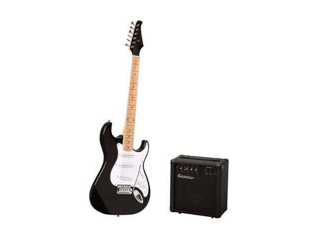 Silvertone Citation Electric Guitar and Amp Package-Black