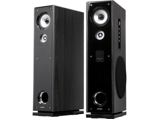 Eagle Tech ET-AR602R-BK Pair Floor Standing Powered Speakers with Remote Control & Karaoke Input Pair