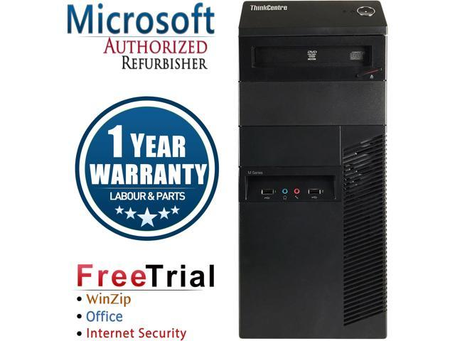 Refurbished Lenovo ThinkCentre M92P Desktop Tower Intel Core i5 3470 3.4G / 8G DDR3 / 2TB / DVD / Windows 7 Professional 64 Bit / 1 Year Warranty