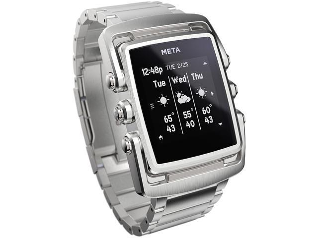 META MW4002 M1 Smart Watch - Stl Steel Case - Stl Steel Bracelet Silver