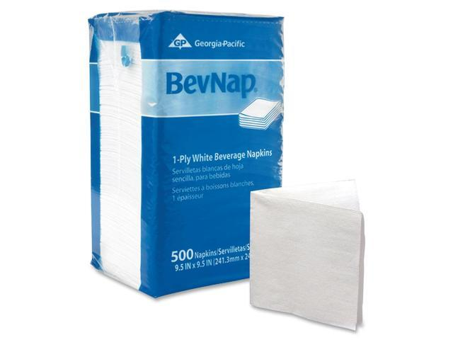 Georgia Pacific 96019 Beverage Napkins, Single-Ply, 9-1/2 x 9-1/2, White, 4000/Carton