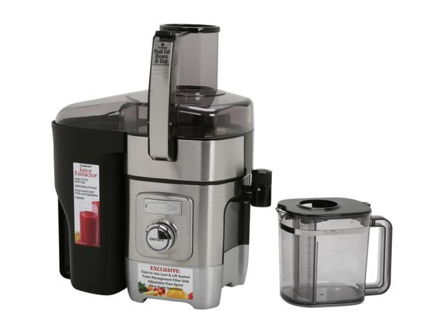 Juice Extractor 33 Oz Adjustable Flow Spout 3 In Feed Tube 5 Speed Dial Quiet