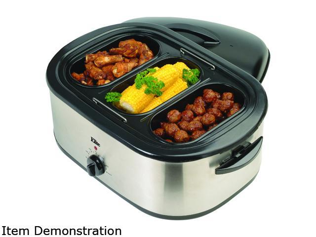 Elite ERO-210B Stainless Steel 18 Qt. 18-Quart Roaster Oven w/ buffet server and removable pot