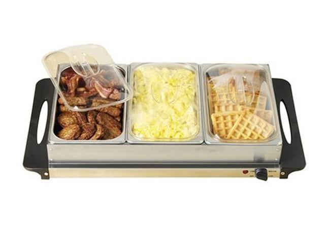 NOSTALGIA ELECTRICS BCD-992 3-Station Stainless Steel Buffet & Warming Tray server
