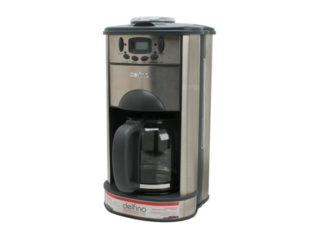 Delfino DLFC-378 Stainless steel Stainless Steel Programmable Coffee Maker & Grinder Combo ...