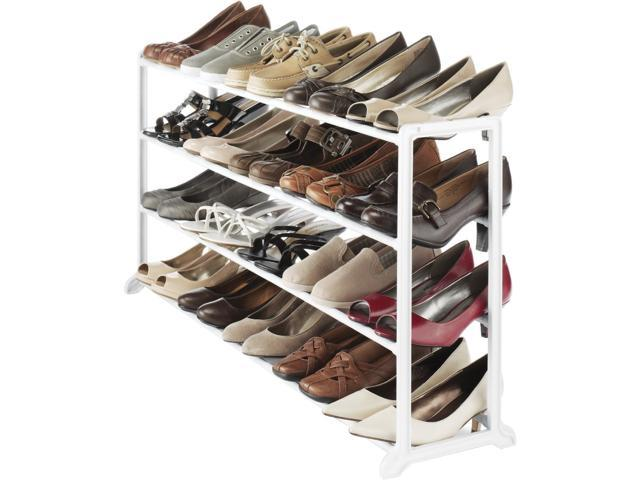 Whitmor 6780-3139-WHT Floor Shoe Stand 20 Pair