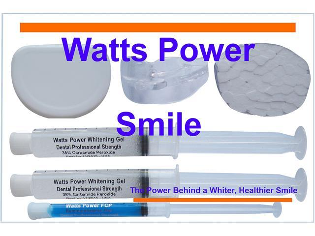 Watts Power WPDentalPro35 New Sensitive 35%  Dental Pro Formula Dual Action Surface & Deep Stain Teeth Whitening Shield System - 2 Huge 10ml Gels - Kosher Certified USA