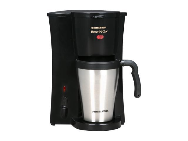 BLACK+DECKER DCM18S Brew 'n Go Personal Coffeemaker with Travel Mug, Black/Stainless Steel