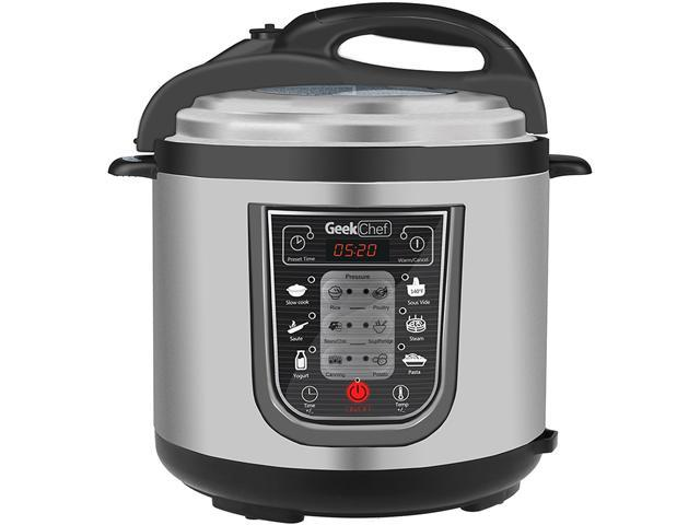 GeekChef 11-in-1 Multi-Functional Pressure Cooker, 6.3 Qt. / 1000W, Stainless Steel Cooking Pot
