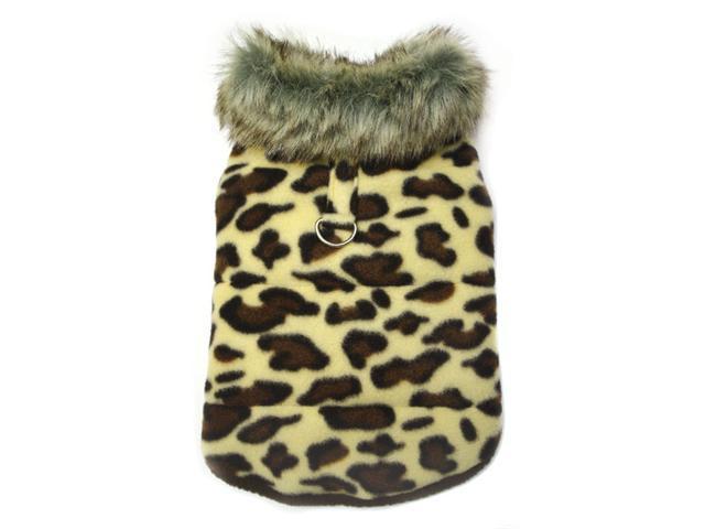 Adorable Padded Leopard Print Dog Vest with Fur Collar - L