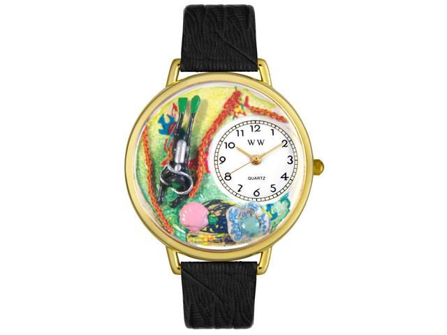 Scuba Diving Black Skin Leather And Goldtone Watch #G0810016