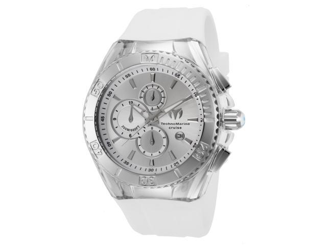 Technomarine Tm-115215 Men's Star Cruise Chrono White Silicone Ss Case Silver-Tone Dial Watch