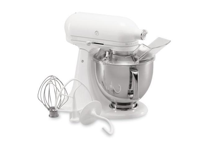 KitchenAid KSM150PSWW Artisan Series 5-Quart Tilt-Head Stand Mixer White On-White