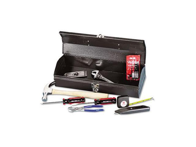 16-Piece Light-Duty Office Tool Kit Metal Box Red