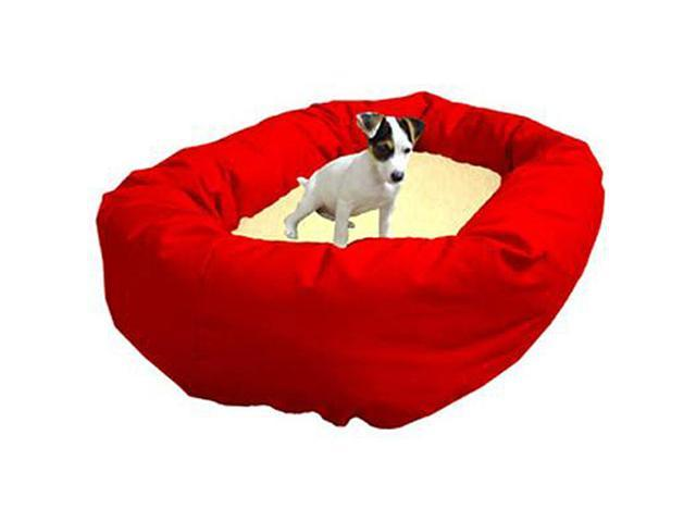 Majestic Pet 788995612513 52 in. Extra Large Bagel Bed- Red and Sherpa