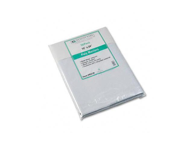 Quality Park 45238 Redi-Strip Recycled Poly Mailer  Side Seam  19 x 24  White  50 Pack