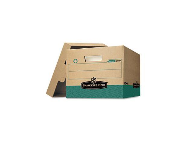 Fellowes 12775 R-Kive Storage Box, Letter/Legal, Locking Lift-off Lid, Kraft/Green, 12/Carton