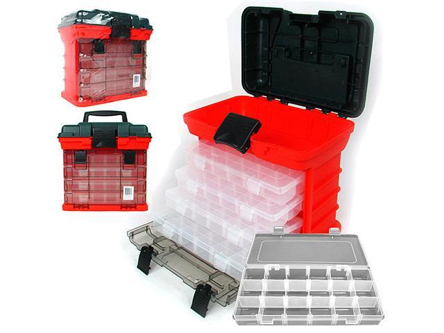 73 Compartment Durable Plastic Storage Tool Box - RED