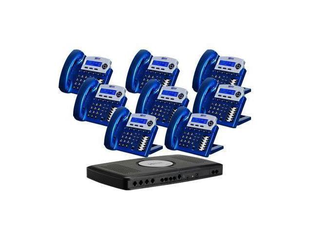 Xblue  XB-2022-28 X16 6 Line Phone System,8 Telephones, Vivid Blue color