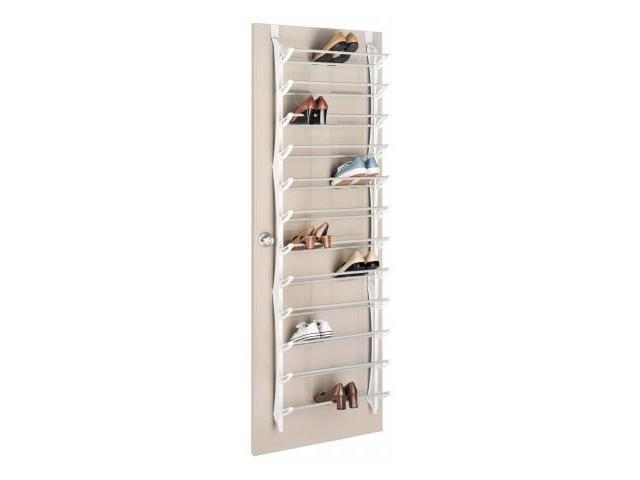 whitmor mfg 36 pair white the door shoe rack 6486