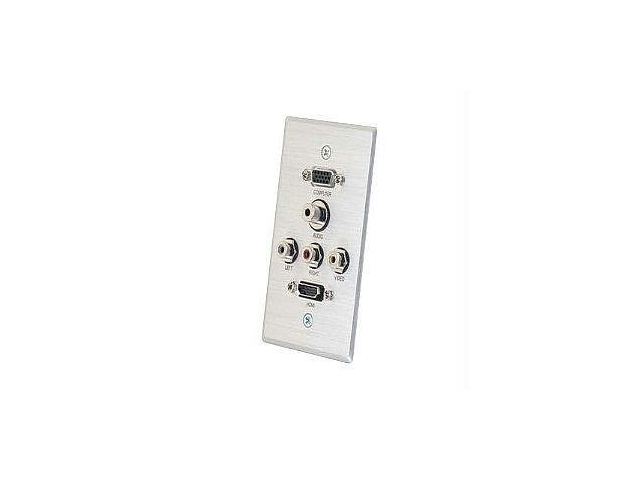 C2G 41040 HDMI  HD15 VGA  RCA AUDIO-VIDEO  AND 3.5MM WALL PLATE - BRUSHED ALUMINUM
