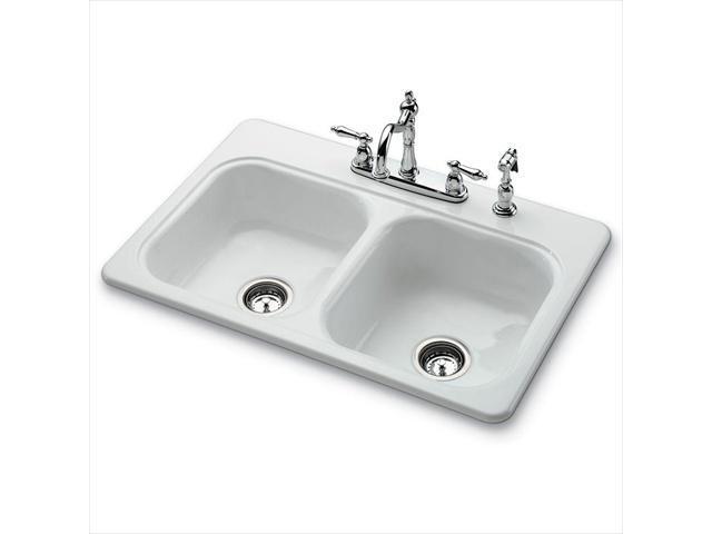 White Ceramic Double Bowl Kitchen Sink: Bootz Industries 031-2958-OK Garnet II Top Mount Porcelain