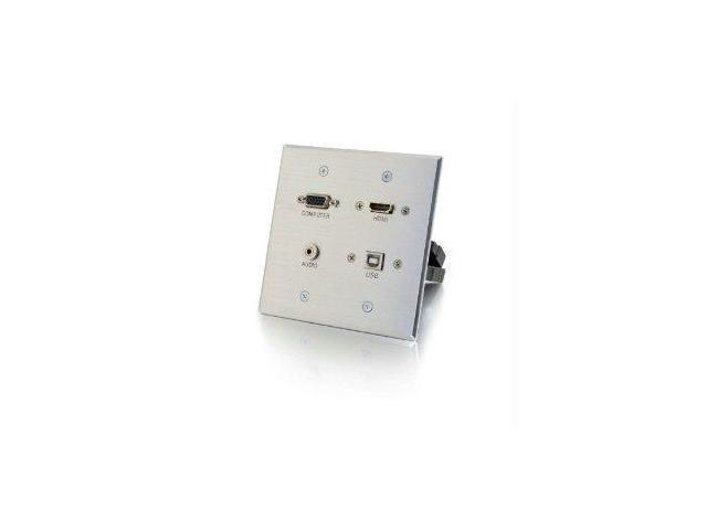 C2g Hdmi, Vga, 3.5mm And Usb Pass-through Wall Plate - Aluminum - 39703