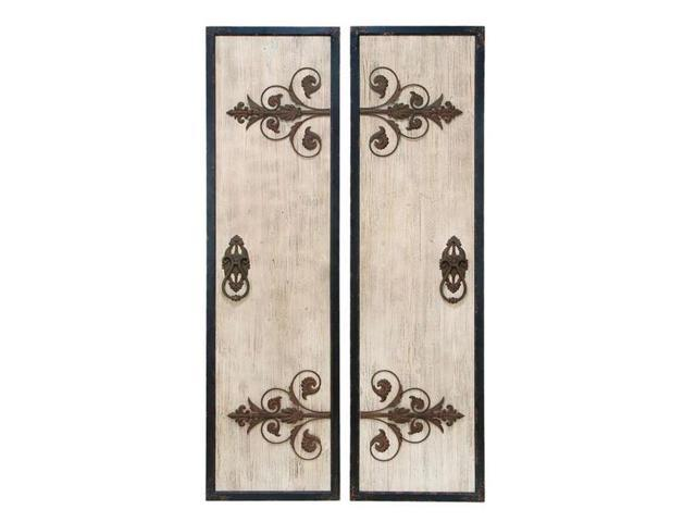 Wooden And Metal Wall Plaque With Assorted Classic Style by Benzara