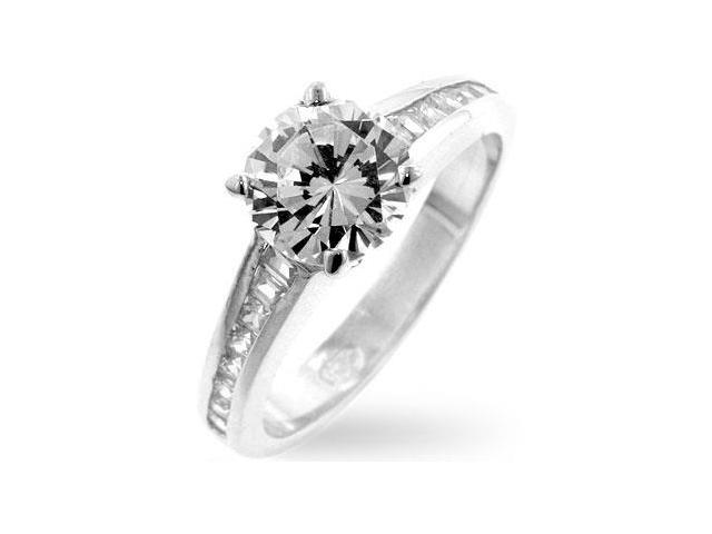 White Gold Rhodium Bonded Classic Clear Engagement Ring with Round Cut Clear CZ in Silvertone - Size 8