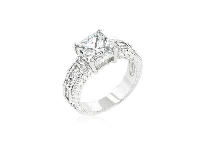 White Gold Rhodium Bonded 5-stone Ring Featuring Cubic Zirconia Princess Cut Center Stone and Shouldered Baguettes in Silvertone - Size 9