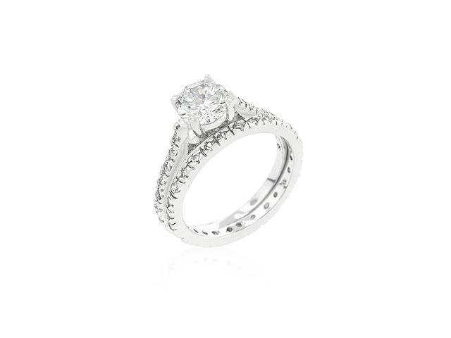 White Gold Rhodium Bonded Engagement Ring Set with Round Cut Cubic Zirconia Set Along Shank and 2 Carat Center Stone in Silvertone - Size 8