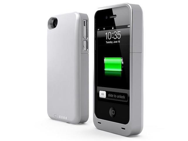 UNU White/Silver 2400 mAh Power DX PLUS Protective Battery Case for iPhone 4 / 4S unu-dx-2400-WT/sil