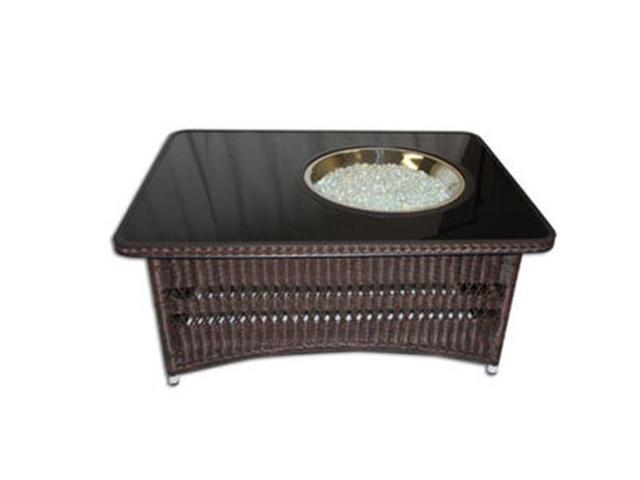 Outdoor Greatroom Company NAPLES-CT-B-K Naples Coffee Table with Balsam Wicker Base, Black Glass Center Top and CF-20-LP