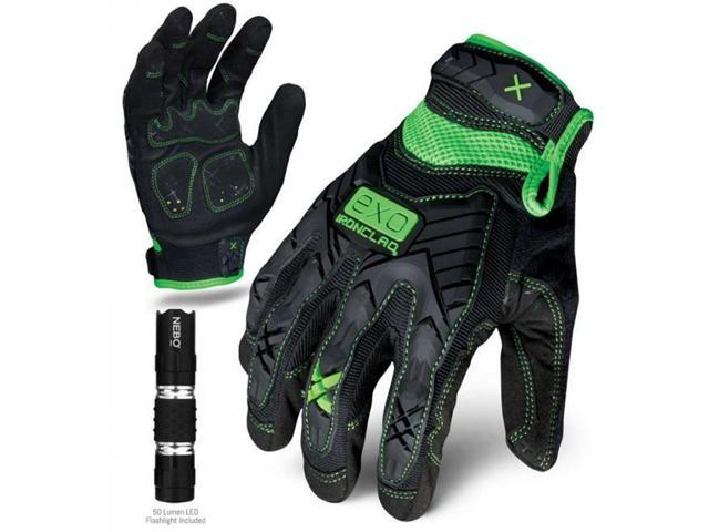Ironclad Performance Wear EXO-MIG-04-L EXO Motor Impact Glove, Large, Green