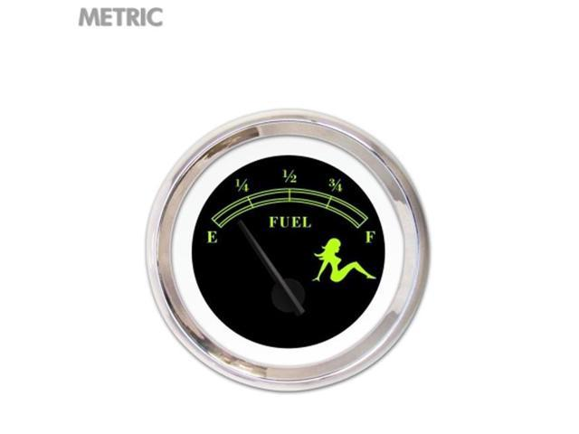 Aurora Instruments GAR171ZM by KABCC Fuel level Gauge - Mudflap Green Te by t, Black, Black Modern Needles, Chrome Trim Rings ~ Style Kit Installed