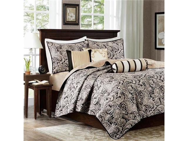 Madison Park MP13-2694 6 Piece Polyester Jacquard Coverlet Set Black, Full-Queen